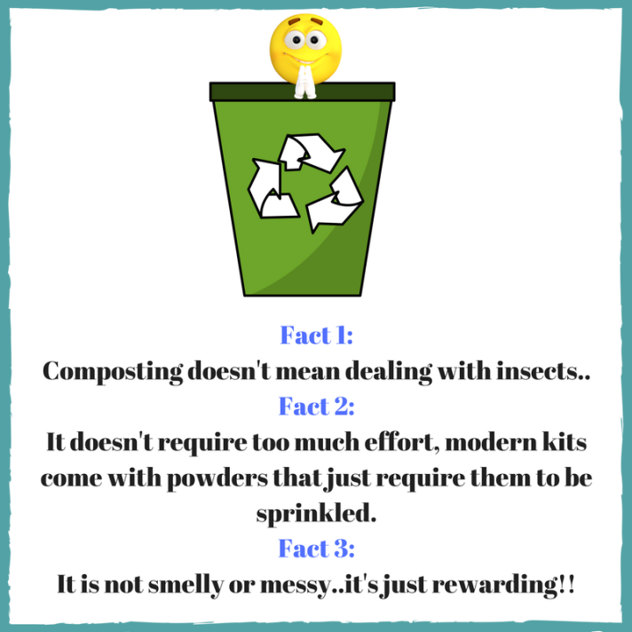 fact 1_Composting doesn't mean dealing with insects..fact 2_It doesnt require too much effort